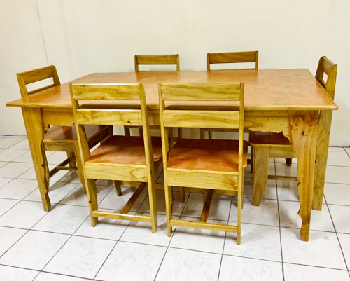 Wooden Table Set with 6 chairs